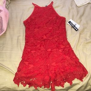 Red Floral Lace Romper